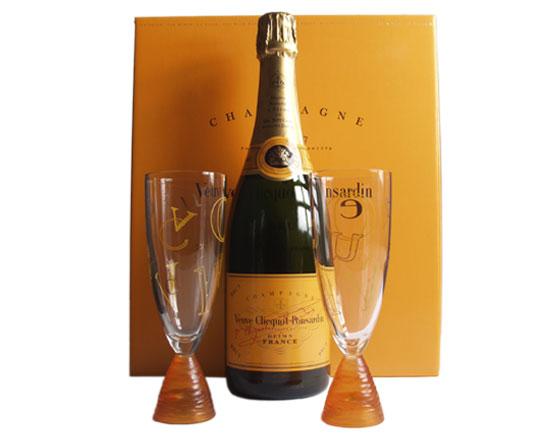 Coffret brut carte jaune et 2 flutes - Coupe champagne veuve clicquot ...